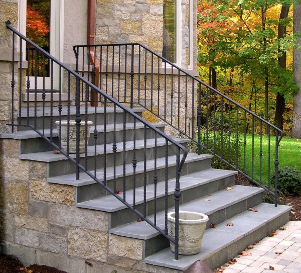 Stair railings wilson railing metal fabricating for Exterior railings